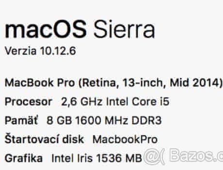 "Macbook Pro mid 2014 13""   8GB RAM   256"