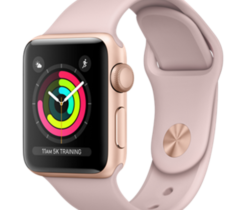 Apple Watch Series 3 38mm zlatý hliník s pískově růžovým sportovním řemínkem (2017)