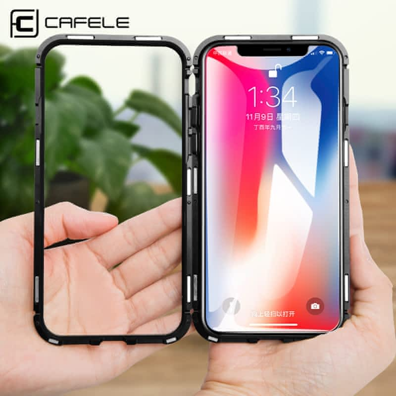 CAFELE-Magnetic-Case-For-iPhone-X-10-metal-edge-Tempered-Glass-Ultra-Thin-Transparent-Glass-Back