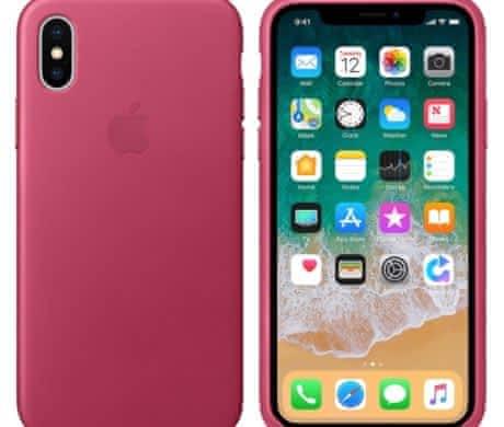 Kožený kryt na iPhone X/XS, fuchsiový