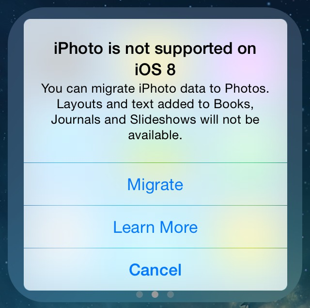 iPhoto not supported on iOS 8