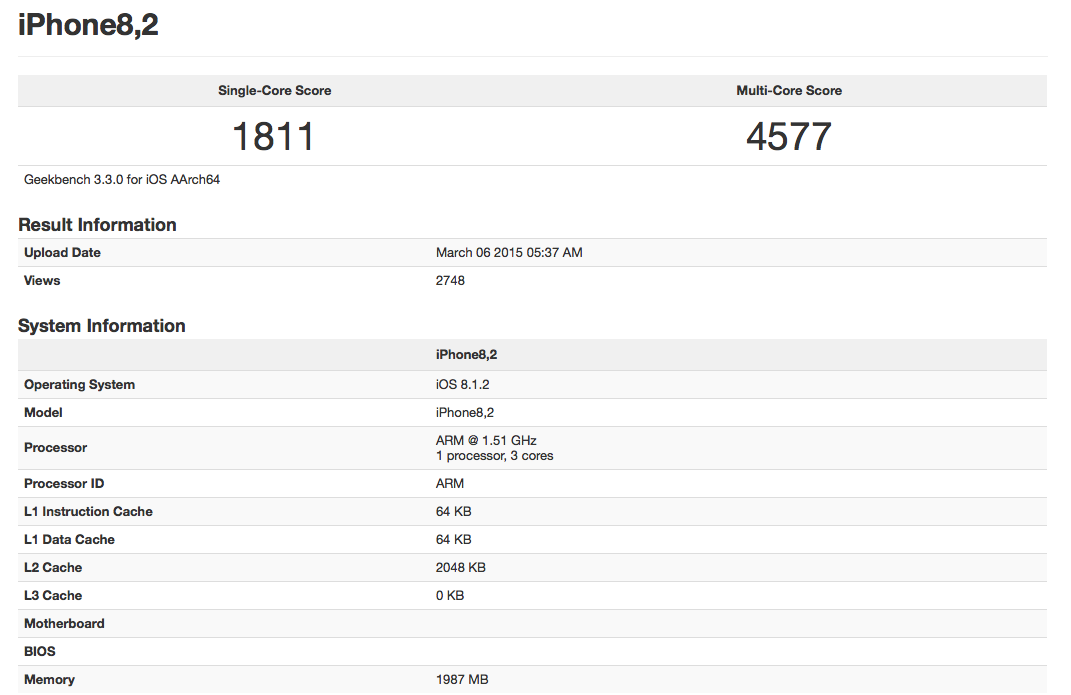 iPhone 6 Geekbanch benchmark