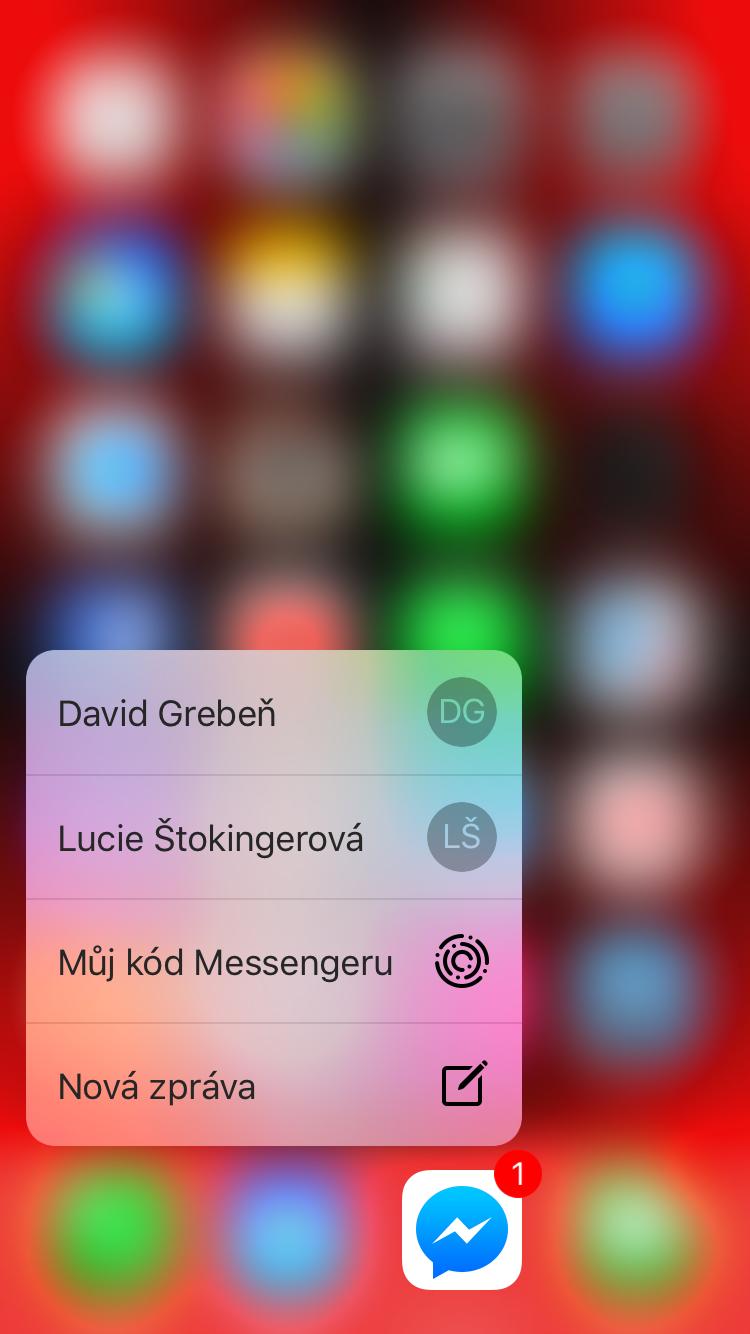 Facebook Messenger kod 3D Touch