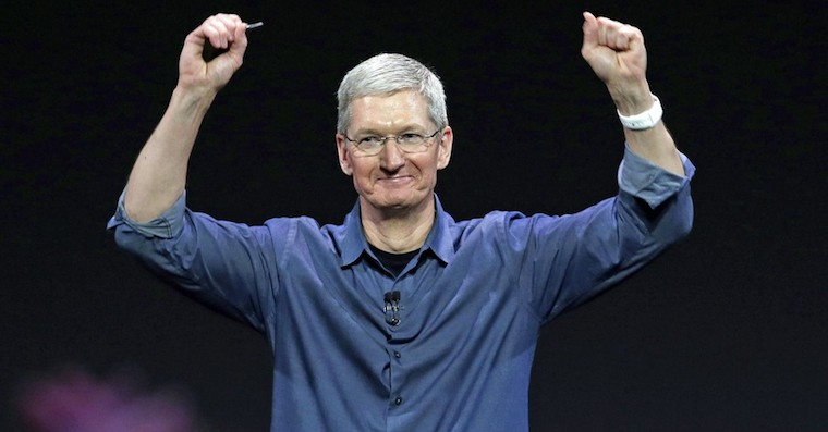 Tim Cook celebrating FB