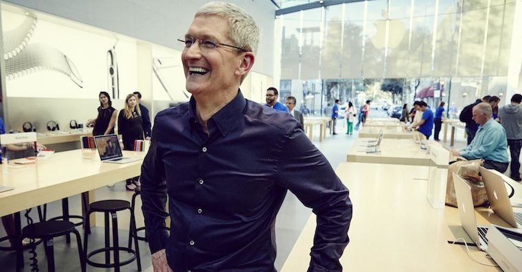 Tim Cook laugh Apple Store FB