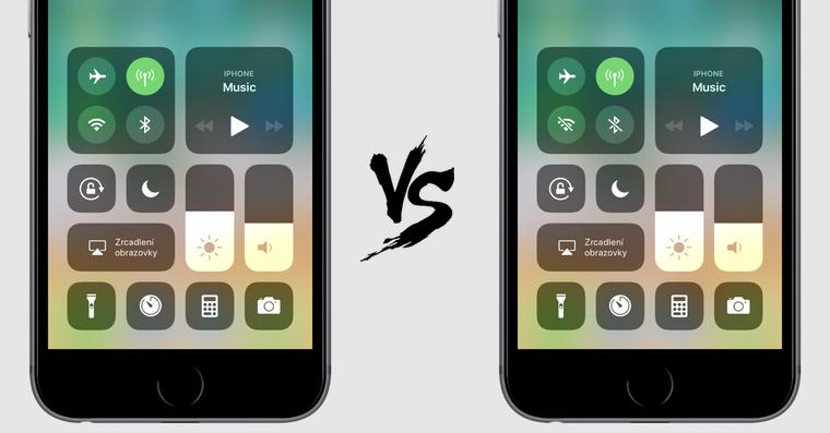 iOS 11 ovladaci centrum Wi-Fi Bluetooth FB
