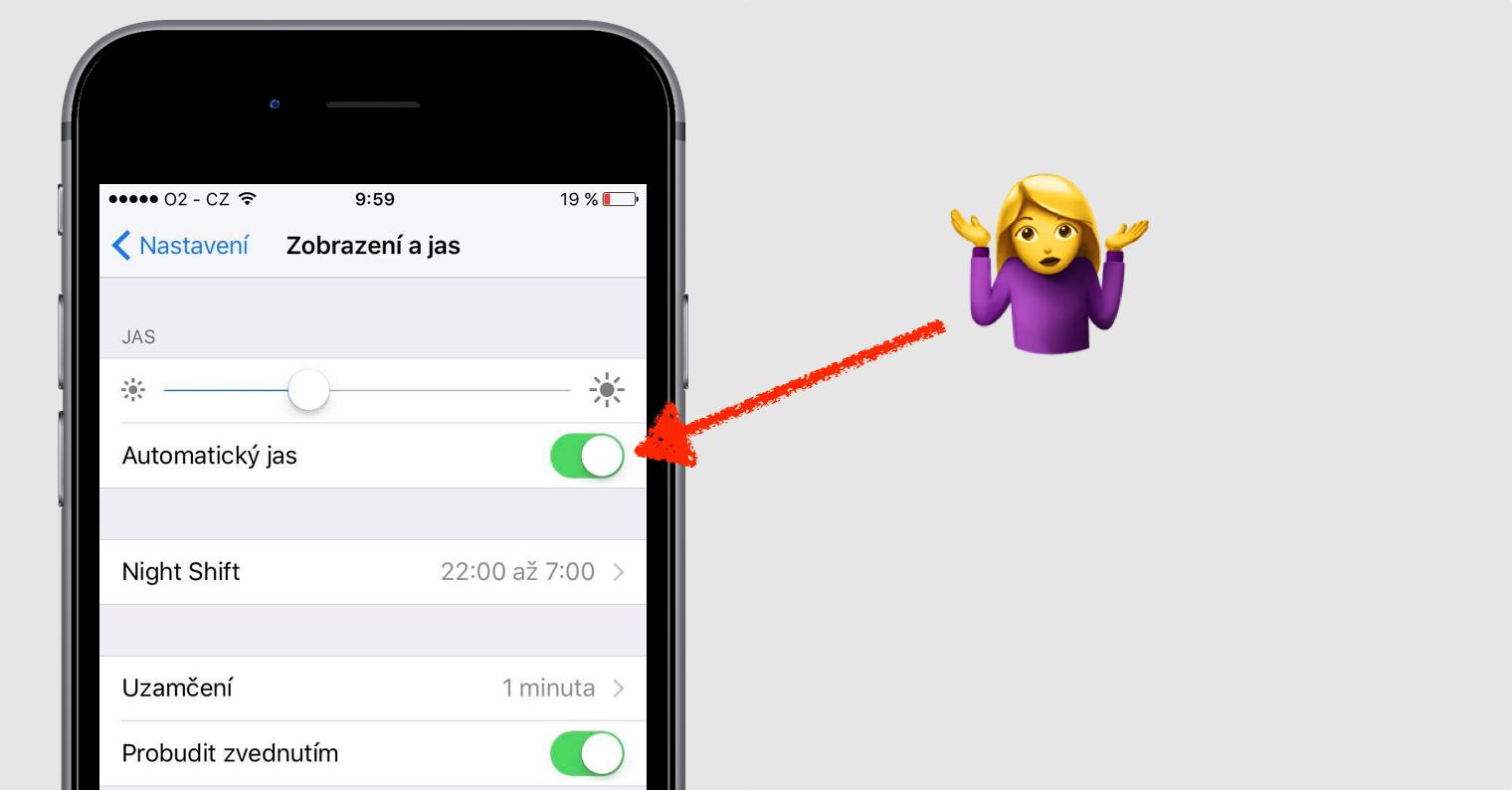 automaticky jas iOS 10