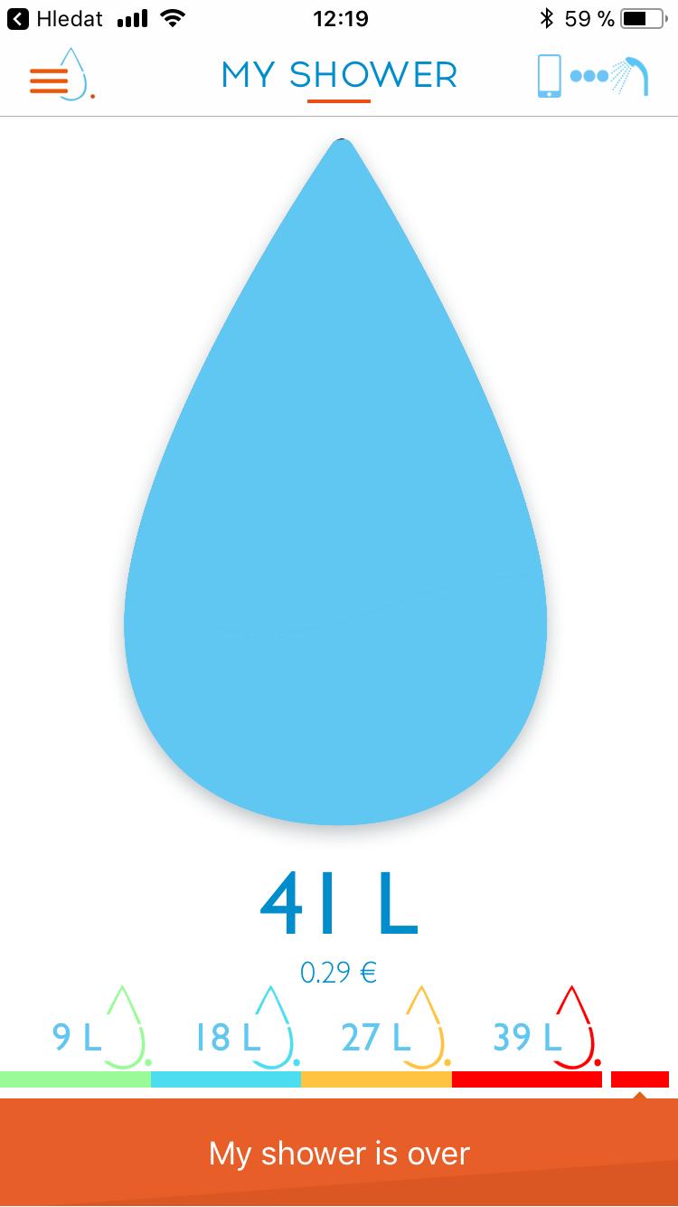 Měření aktuálního sprchování