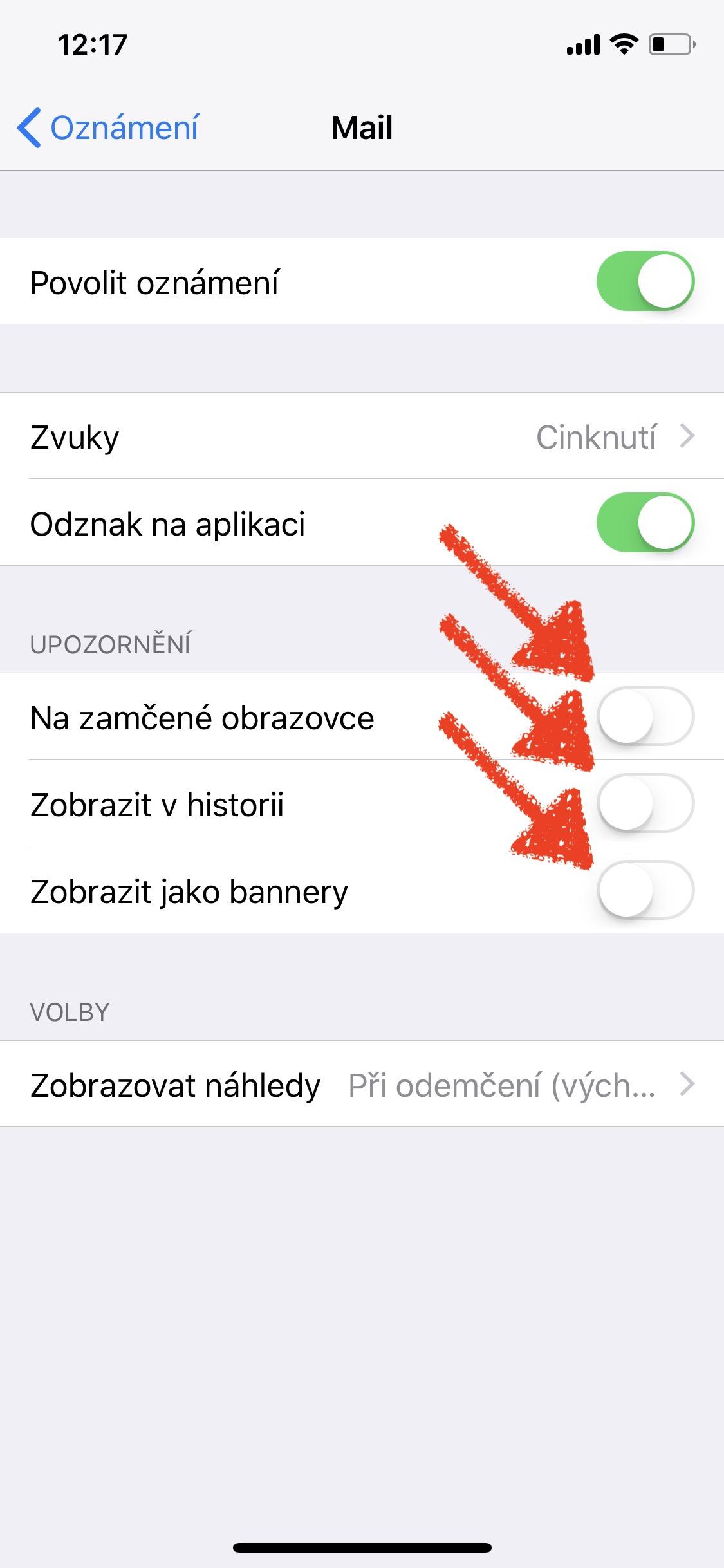 iOS 11 oznameni Mail 2