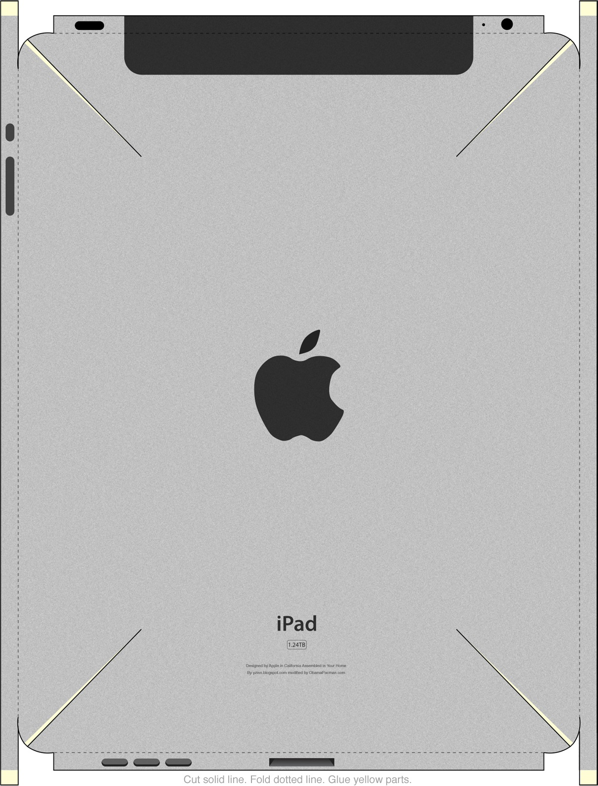 Back, DIY iPad mockup V2 iPapercraft