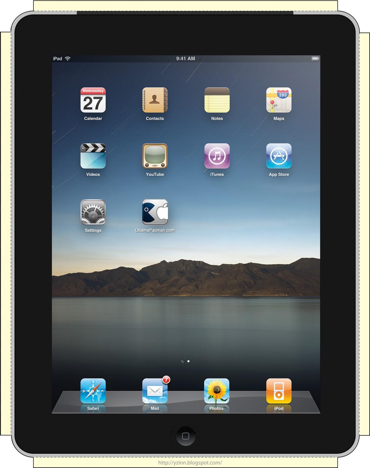 Front, DIY iPad mockup V2 iPapercraft