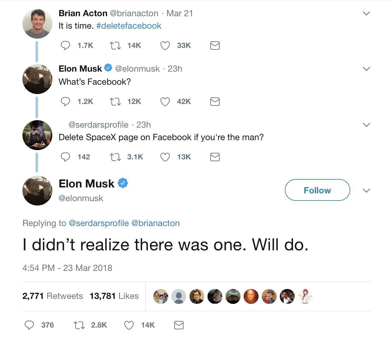 Elon musk deletefacebook SpaceX