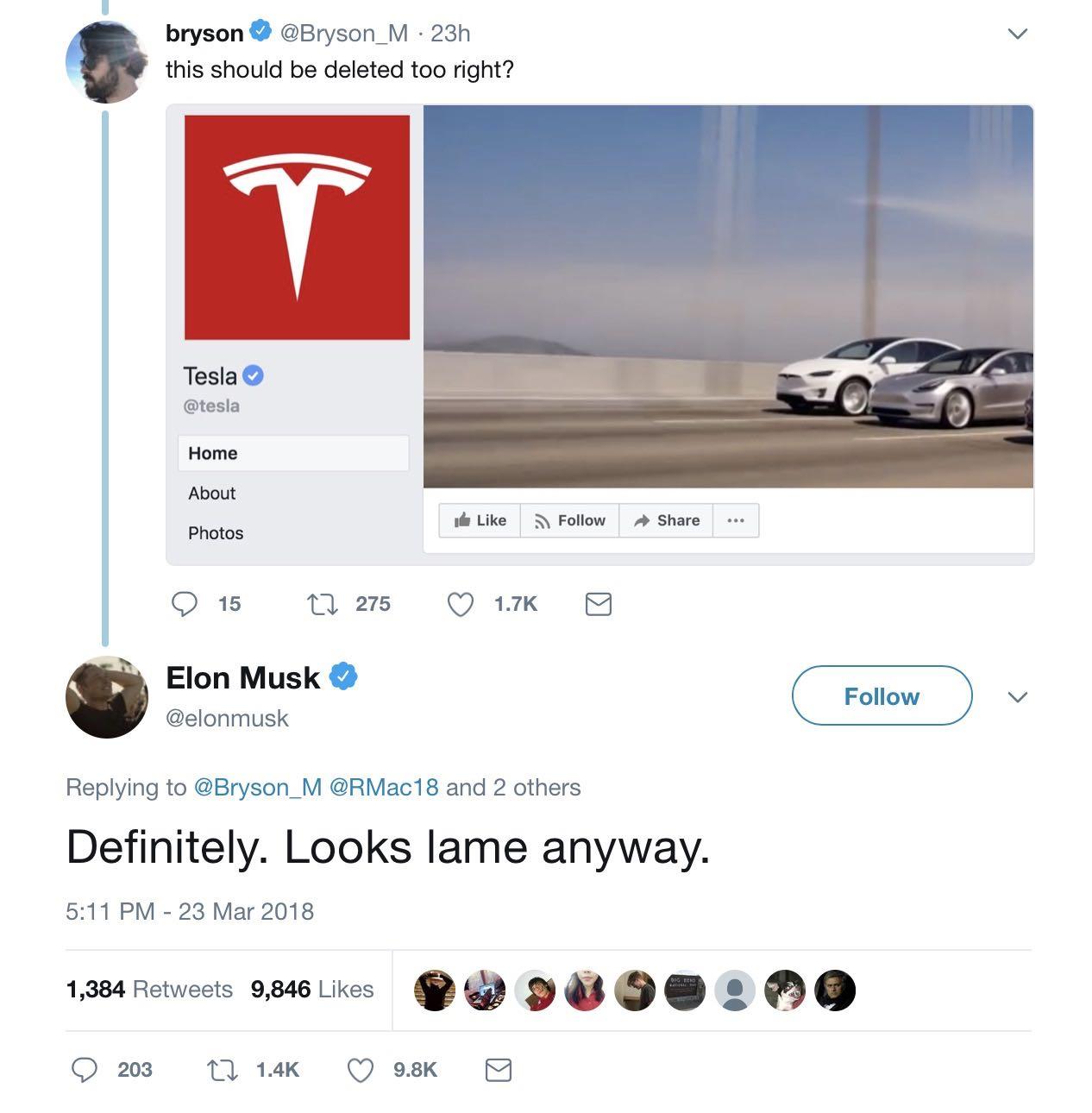 Elon musk deletefacebook Tesla