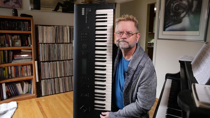 Jim Reekes with his keyboard
