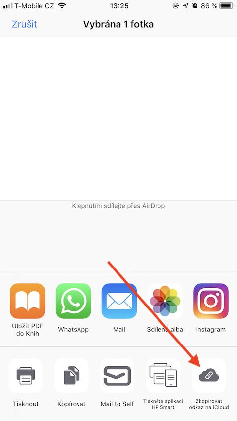 iOS 12 Sdileni fotky Zkopirovat odkaz na iCloud