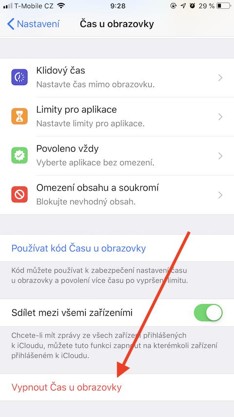 iOS 13 Vypnout Cas uobrazovky 1