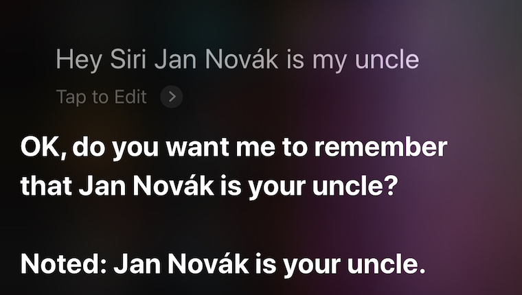 Siri potvrzeni vztahu
