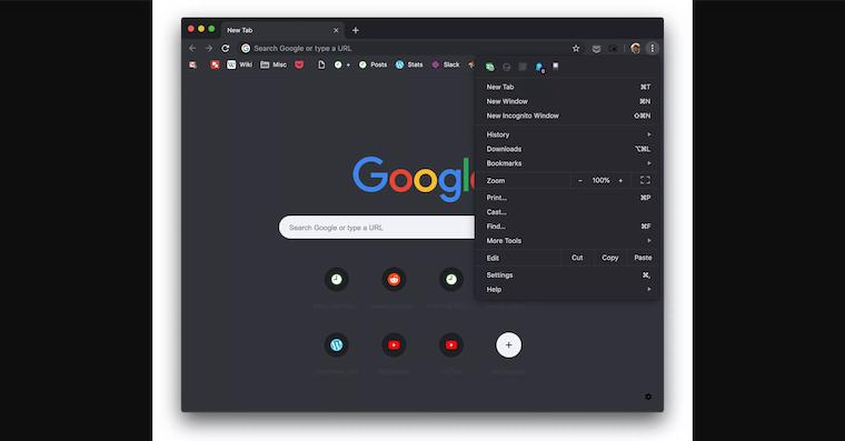 Chrome 73 Dark Mode fb