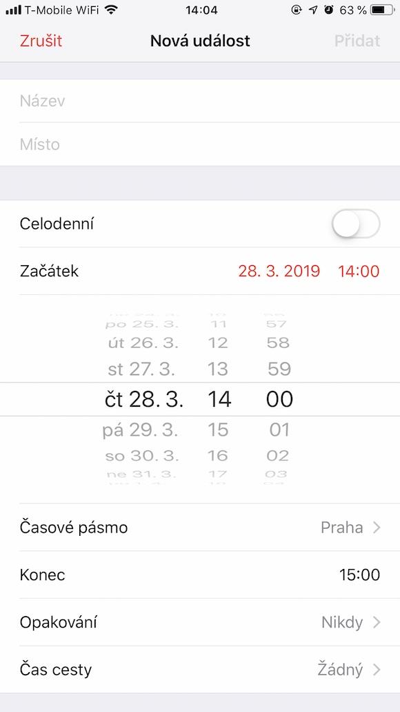 iOS Kalendar presny cas 3