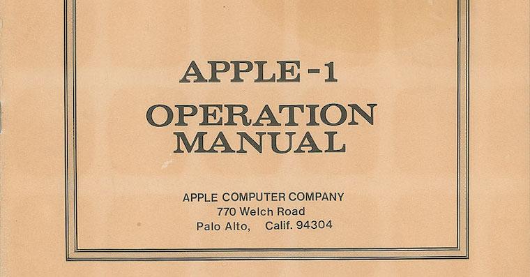 Vzacny manual k pocitaci Apple I