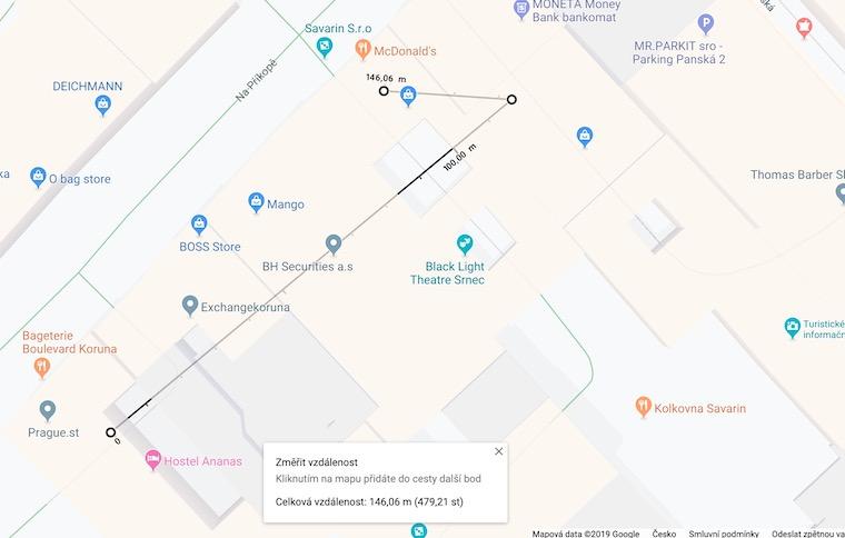 Screenshot Google Maps mereni vzdalenosti