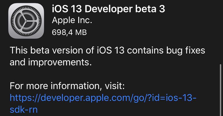 Screenshot aktualizace iOS 13 Beta 3