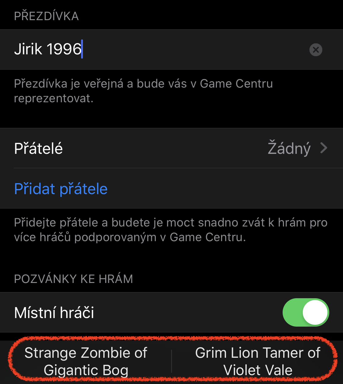 prezdivky v Game Center z iOS 13