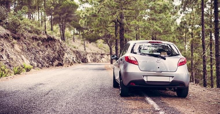 Fotka auta v lese na roadtripu