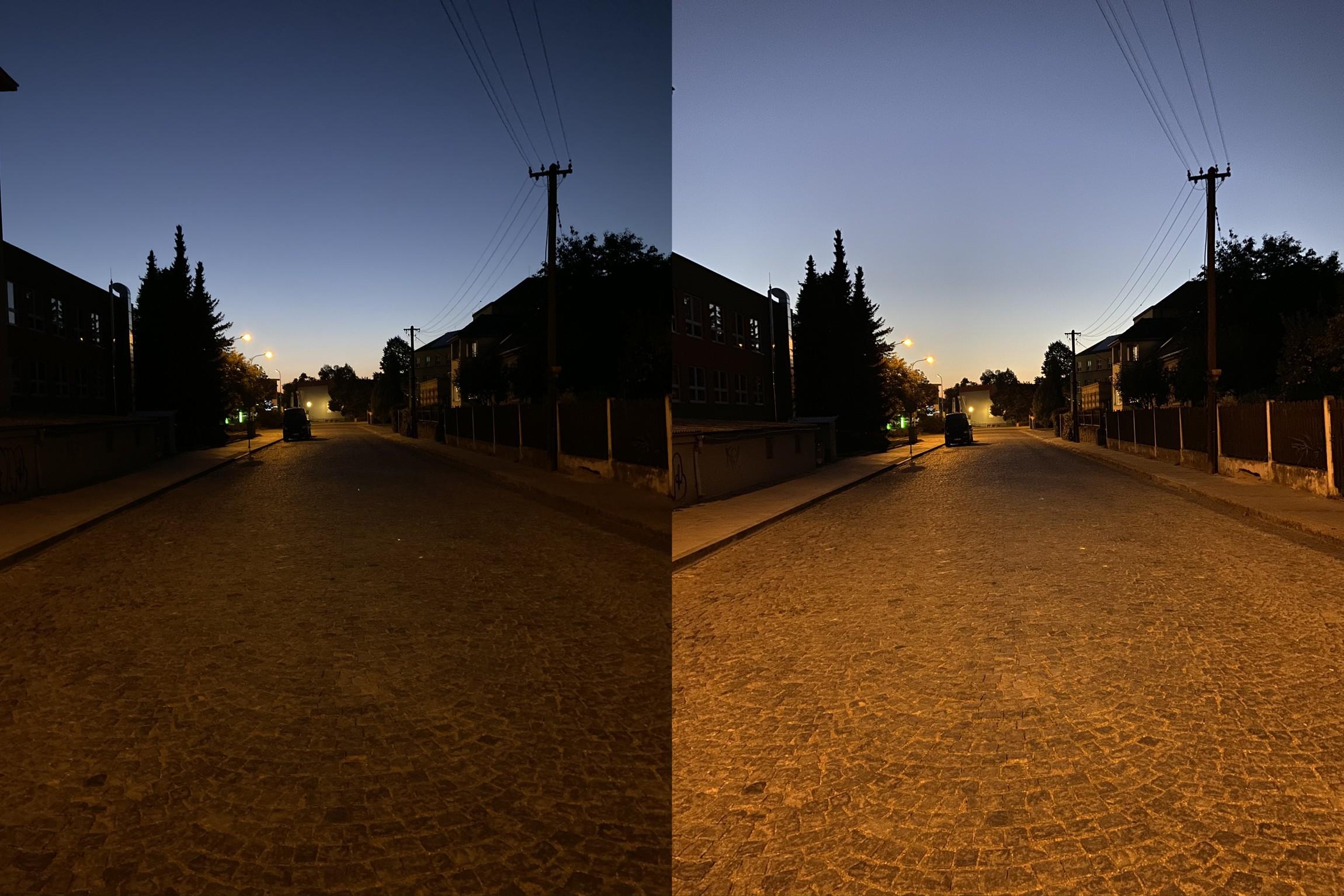 Test nocniho rezimu iPhonu 11 a iPhonu XS zachycujici ulici
