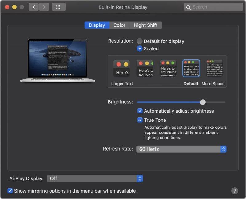 obnovovací frekvence macbooku pro