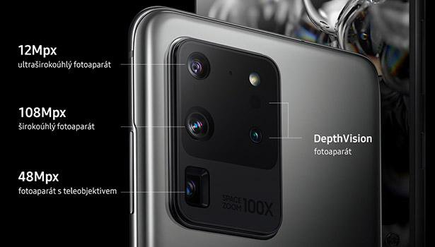 """Samsung Galaxy S20 Ultra 5G """"data-caption ="""" Samsung Galaxy S20 Ultra 5G """">                                                                                       Samsung Galaxy S20 Ultra 5G                                                                     Source: Edited by Flying the World with Apple                                                                                      <p>The camera uses up to 4 sensors together and also has RAW support. The main 108Mpx lens with an aperture of f / 1.8 and OIS takes photos at a standard resolution of 12 MP, thanks to which it can combine up to 9 pixels into one. It is this feature that is responsible for significantly brighter photos, which is especially useful for night photography.</p> <p>The second 48MP periscope sensor with OIS offers 5x optical zoom, 10x hybrid zoom and 100x digital zoom. For widescreen images, there is a 12MP sensor with an aperture of f / 2.2 and the last sensor is the so-called ToF. Samsung also surprised this model with support for 8K video at 24 frames per second. With 4K resolution, it is even up to 60 fps. Of course, there is also the possibility of shooting slow-motion v720p videos at 960 fps.</p> <p>Parameters:</p> <p>Main sensor: 108 MP, f / 1.8, optical image stabilization<br /> Periscope lens: 48 MP, f / 3.5, 10X hybrid zoom, optical image stabilization<br /> Ultra-wide angle lens: 12 MP, f / 2.2<br /> ToF sensor</p> <h2>Samsung Galaxy S21 Ultra</h2> <p>Compared to the previous model, there is again the same, but slightly improved 108MP main sensor, which according to the manufacturer offers a better dynamic range and overall higher quality photos. In any case, the periscope lens with a tenfold optical zoom and the possibility of zooming with an ultra-wide-angle sensor is a novelty.</p> <p>    <img class="""