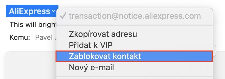 mac mail zablokovat e-mailovou adresu