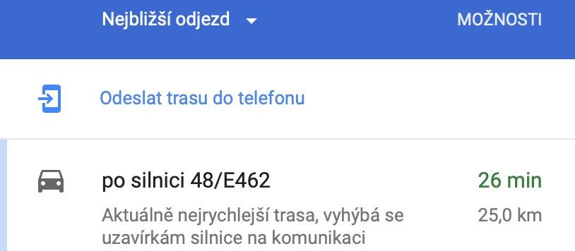 google maps odeslat do telefonu