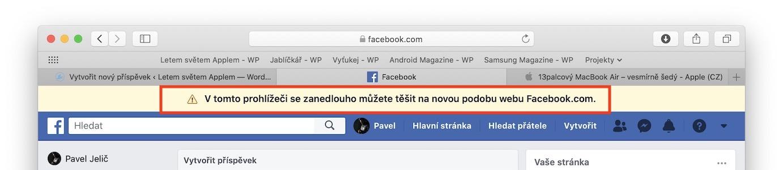 nový facebook na webu