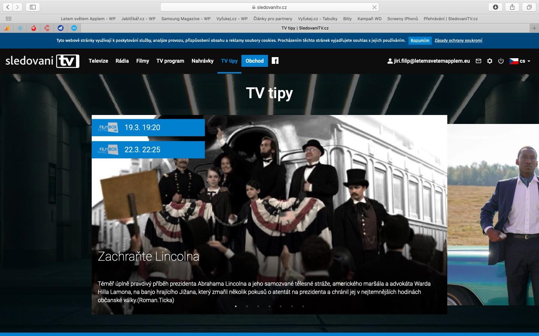Screenshoty aplikace Sledování TV z Macu