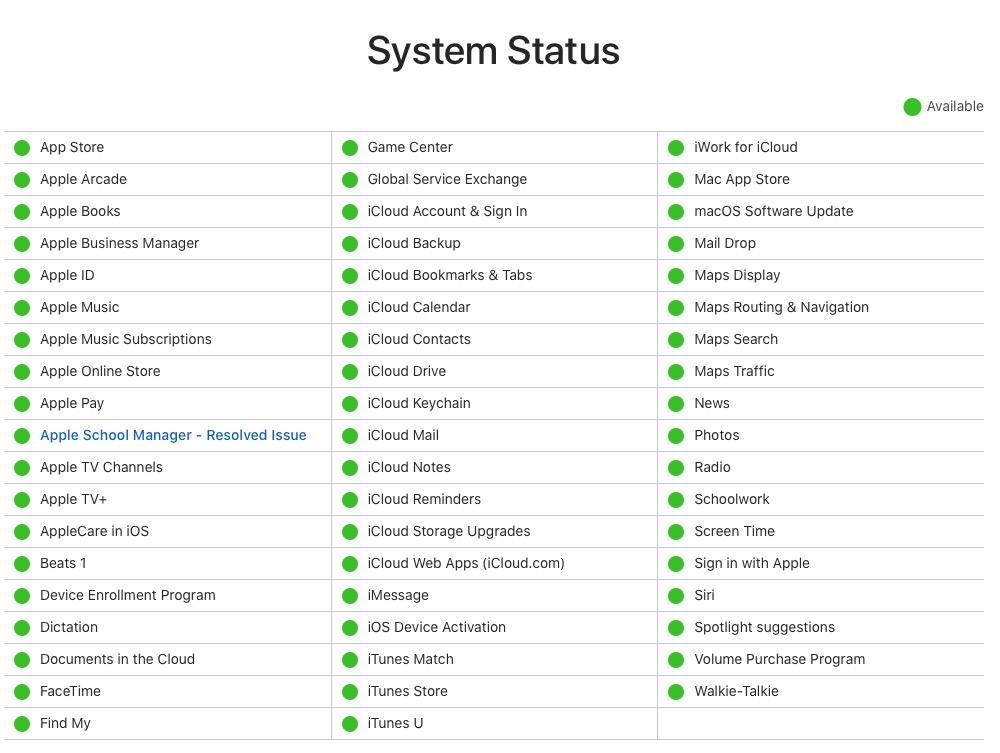 apple system status facetime