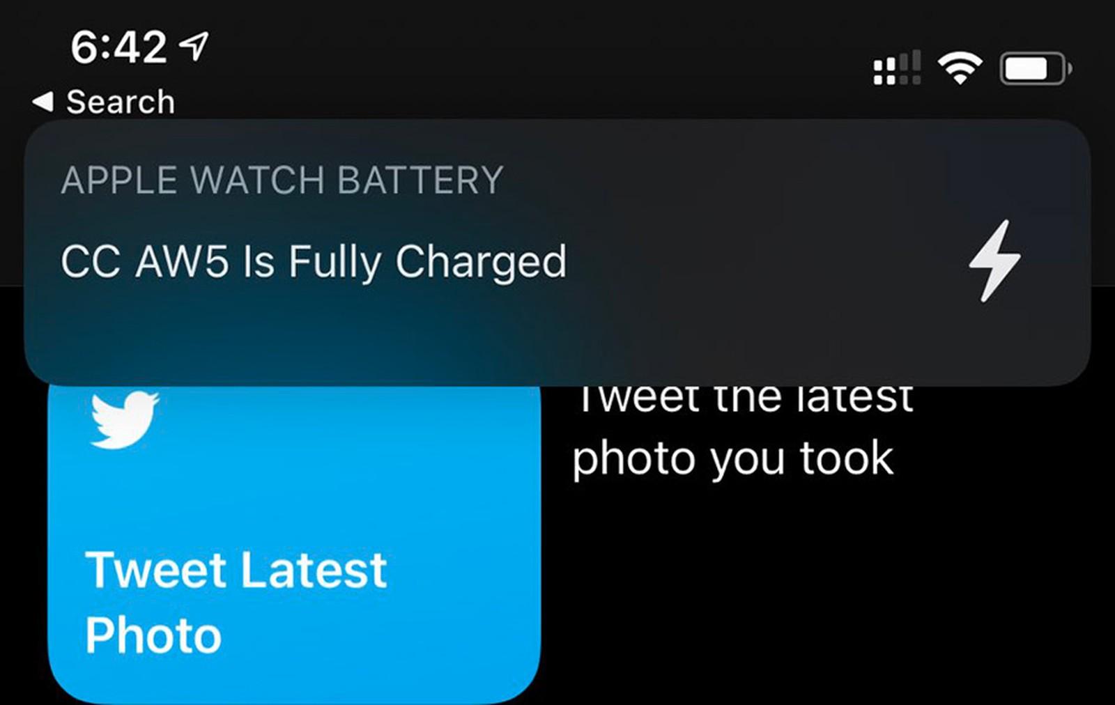 Notifikace nabíjení Apple Watch