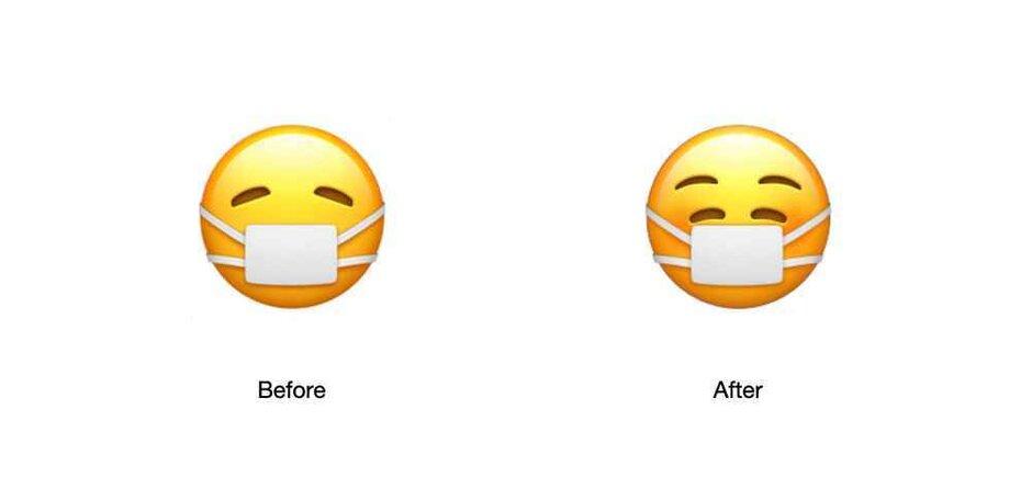 iOS 14.2 emoji s rouškou